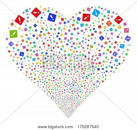 Error fireworks with heart shape. Vector illustration style is flat bright multicolored iconic symbols on a white background. Object stream constructed from confetti icons.