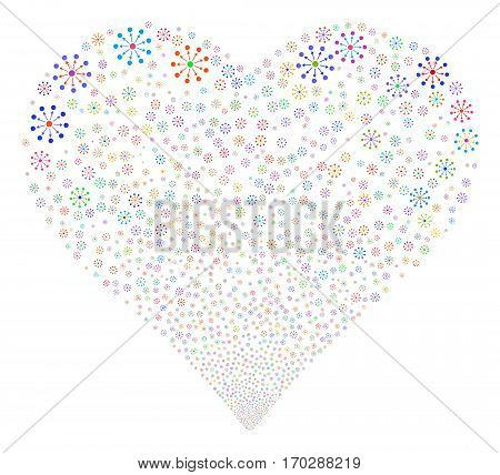 Expanse fireworks with heart shape. Vector illustration style is flat bright multicolored iconic symbols on a white background. Object valentine heart made from random pictograms.
