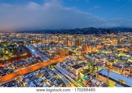 Yamagata, Japan downtown skyline at night.