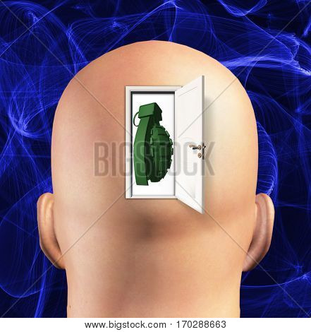 Man's head with grenade inside.  3D Render