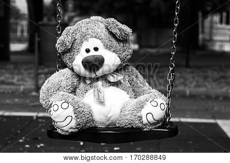 Depressed Fluffy Soft Teddy Bear Toy sitting on cradle in the park