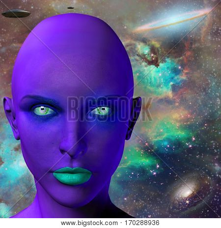 Woman's face before colorful universe. Flying saucers.  3D Render   Some elements provided courtesy of NASA