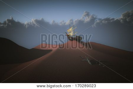 Ancient sailing ship atop red desert sand dune. 3D Render