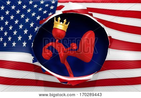 The King Of America Kicking The U.S. Flag 3D Illustration