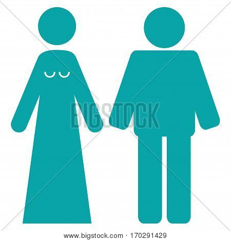 Married Groom And Bribe vector icon symbol. Flat pictogram designed with cyan and isolated on a white background.