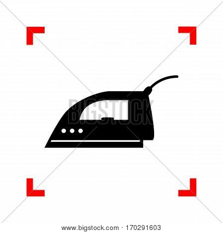 Smoothing Iron sign. Black icon in focus corners on white background. Isolated.