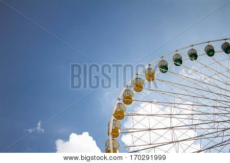 Roulette with a blue sky background in a sunny day
