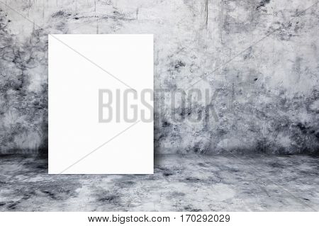 Blank white paper poster lean at bare concrete wall. For text input or according to your design.