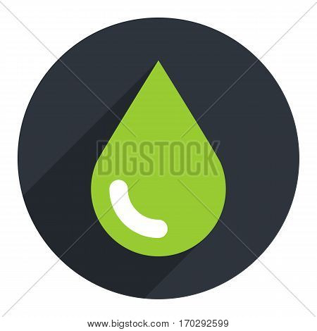 Use it in all your designs. Green drop icon ecology sign on circlular shape. Flat long shadow style. Vector illustration a graphic element for design