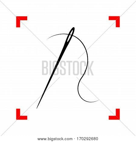 Needle with thread. Sewing needle, needle for sewing. Black icon in focus corners on white background. Isolated.