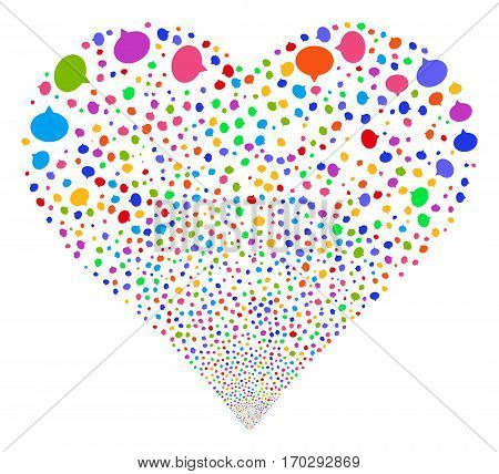 Hint fireworks with heart shape. Vector illustration style is flat bright multicolored iconic symbols on a white background. Object heart done from random pictographs.