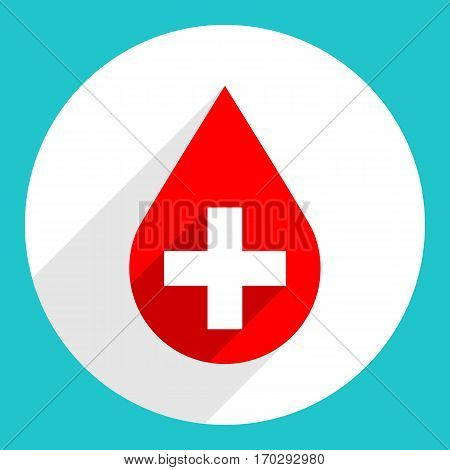 Use it in all your designs. Donate drop blood red sign with white plus on circular icon. Flat long shadow style. Vector illustration a graphic element for design