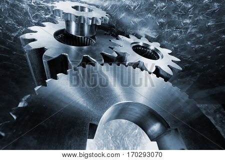 titanium and steel gears, aerospace parts mirrored in brushed aluminum