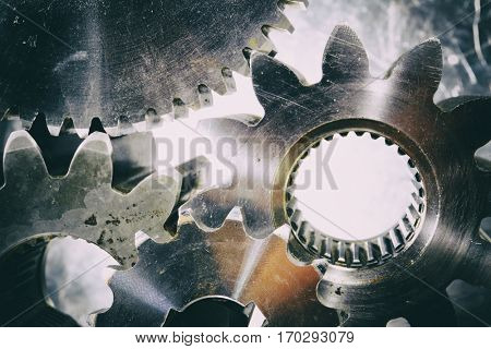 large gears and cogwheels processed in a vintage concept