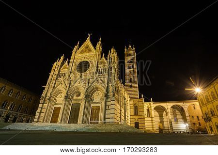 Siena Cathedral Night View, Tuscany, Italy