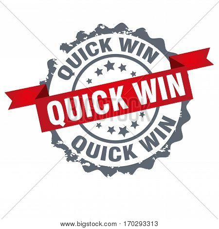 Quick win stamp.Sign.Seal.Logo design isolated on white