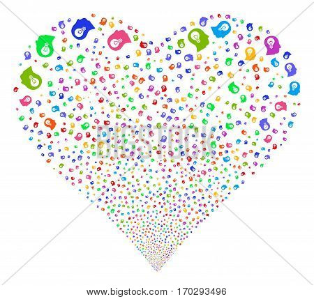 Intellect Bulb fireworks with heart shape. Vector illustration style is flat bright multicolored iconic symbols on a white background. Object stream organized from scattered symbols.
