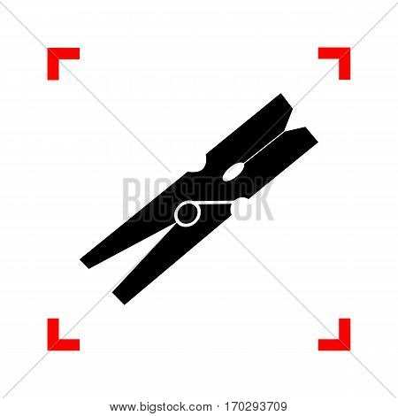 Clothes peg sign. Black icon in focus corners on white background. Isolated.