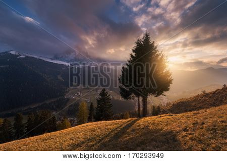 Italy. Dolomites. Sunset at the village of Selva di Val Gardena