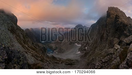 Slovakia. High Tatras. View of Poland Tatras and lake (Zmrzle pleso)