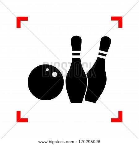 Bowling sign illustration. Black icon in focus corners on white background. Isolated.