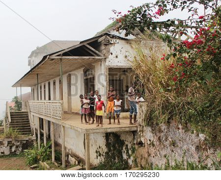 Sao Tome, Sao Tome and Principe - July 20, 2015: Unidentified Sao Tomean kids in a village at Sao Tome