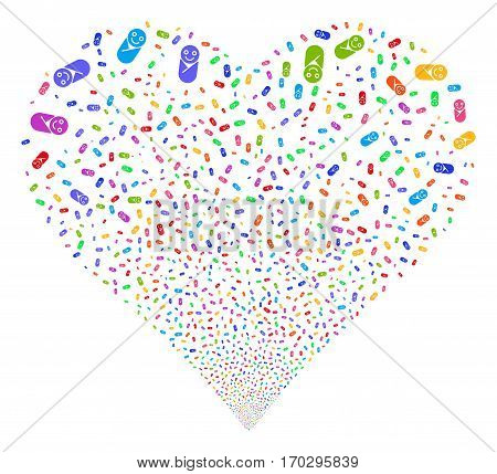 Newborn fireworks with heart shape. Vector illustration style is flat bright multicolored iconic symbols on a white background. Object valentine heart made from scattered design elements.