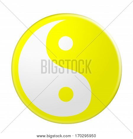 3d Yellow Yin And Yang Symbol illustration isolated on white background
