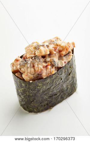 Japanese Sushi - Unagi Gunkan Sushi (Nori wrapped Smoked Eel Sushi) on White Background