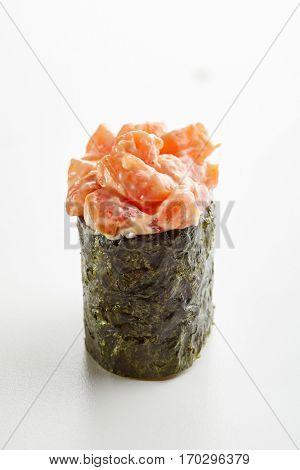 Japanese Sushi - Sake Seaweed Gunkan Sushi (Nori Wrapped Salmon Sushi) on White Background