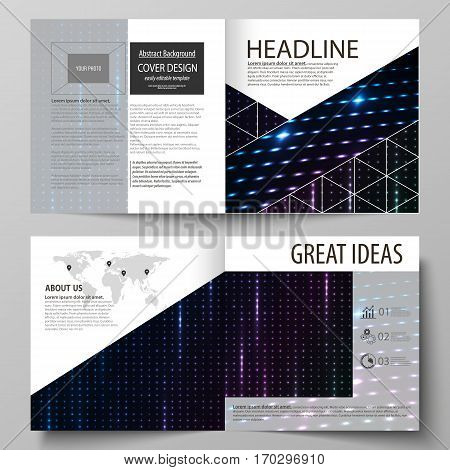 Business templates for square design bi fold brochure, magazine, flyer, booklet or annual report. Leaflet cover, abstract flat layout, easy editable vector. Abstract colorful neon dots, dotted technology background. Glowing particles, led light pattern, f