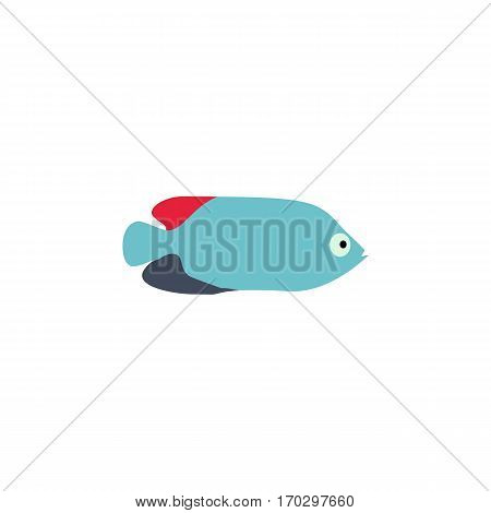 Blue fish vector illustration icon. Aquarium fishes flat style isolated on white background. Fish icons isolated. Tropical fish, sea fish, aquarium fish. Sea color flat design fish