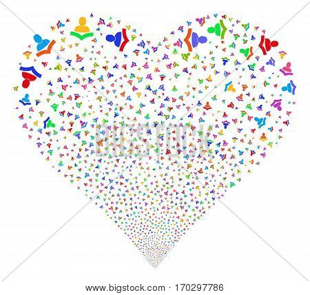 Reader fireworks with heart shape. Vector illustration style is flat bright multicolored iconic symbols on a white background. Object stream made from confetti symbols.
