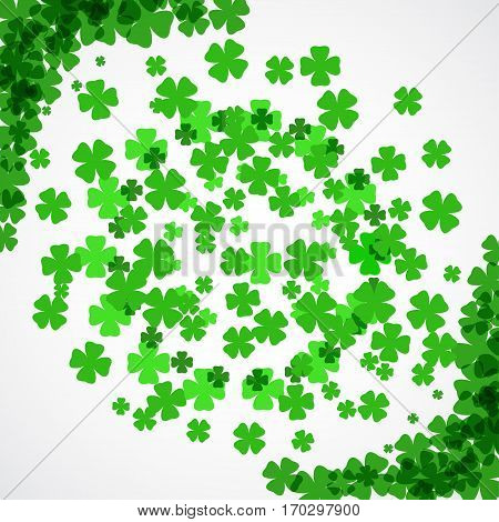 Vector Happy St. Patrick's Day poster on the white background with clover leaves arranged in a circle and at corners.