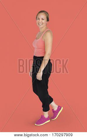 Caucasian Lady Sports Wear Smiling