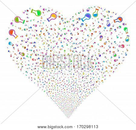Retort fireworks with heart shape. Vector illustration style is flat bright multicolored iconic symbols on a white background. Object valentine heart constructed from confetti pictographs.