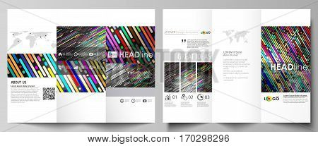 Tri-fold brochure business templates on both sides. Easy editable abstract vector layout in flat design. Colorful background made of stripes. Abstract tubes and dots. Glowing multicolored texture.