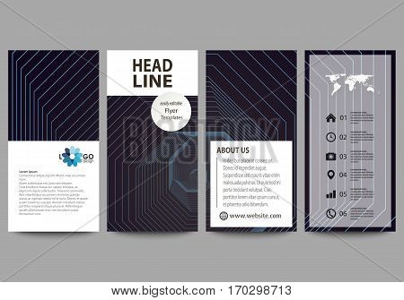 Flyers set, modern banners. Business templates. Cover design template, easy editable abstract vector layouts. Abstract polygonal background with hexagons, illusion of depth and perspective. Black color geometric design, hexagonal geometry.