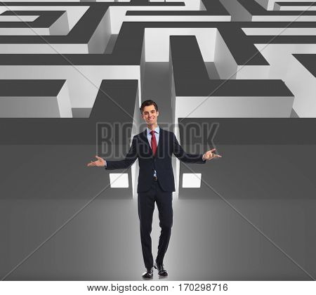 businessman welcoming you to the business maze, get in or get out