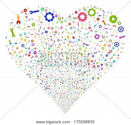 Setup Tools fireworks with heart shape. Vector illustration style is flat bright multicolored iconic symbols on a white background. Object heart combined from confetti pictographs.
