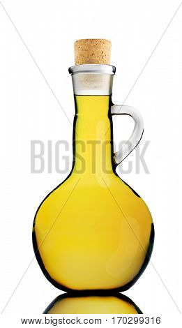 Olive oil in a round bottle isolated on white