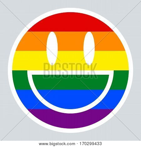 Use it in all your designs. Emoticon smiley icon happy smiling face painted in the colors of the LGBT movement rainbow flag. Quick and easy recolorable graphic element in technique vector illustration