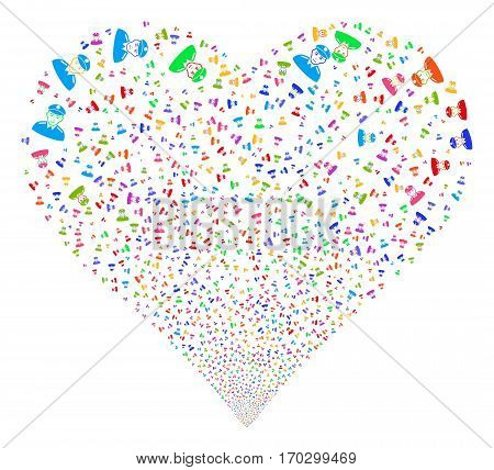 Soldier fireworks with heart shape. Vector illustration style is flat bright multicolored iconic symbols on a white background. Object valentine heart created from random design elements.