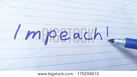 Handwritten Impeach political statement