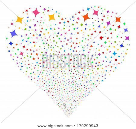 Sparcle Star fireworks with heart shape. Vector illustration style is flat bright multicolored iconic symbols on a white background. Object valentine heart constructed from scattered pictographs.