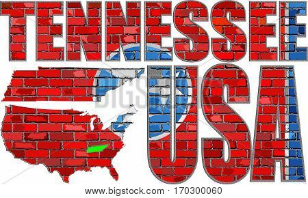 Tennessee on a brick wall with effect - 3D Illustration, Font with the Tennessee flag