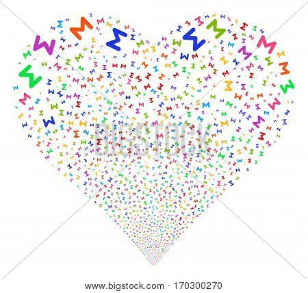 Sum fireworks with heart shape. Vector illustration style is flat bright multicolored iconic symbols on a white background. Object heart done from scattered symbols.