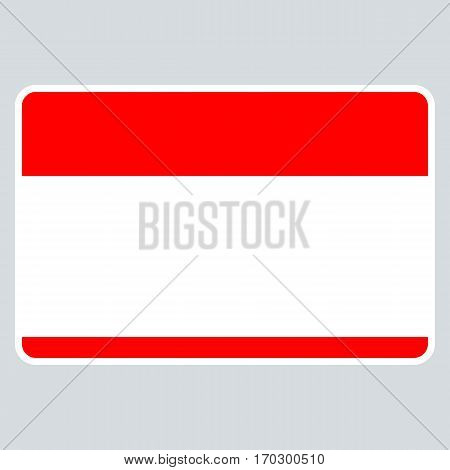 Use it in all your designs. Red blank name tag sticker without text HELLO my name is rounded rectangular badge. Quick and easy recolorable graphic element in technique vector illustration
