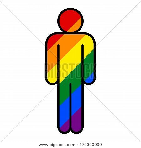 Use it in all your designs. Human figure painted in the colors of the LGBT movement rainbow flag. Quick and easy recolorable graphic element in technique vector illustration