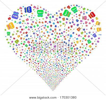Toxic Rubbish fireworks with heart shape. Vector illustration style is flat bright multicolored iconic symbols on a white background. Object salute combined from confetti pictograms.